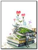 lovely cute elf planted on the book