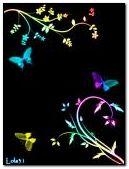 Borboletas e flores de néon