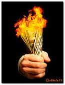 Money in the fire