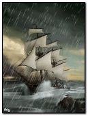 Ship on storm
