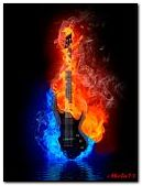 Black guitar on fire