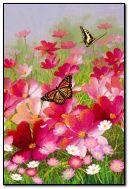 गुलाबी फूल और तितलियों