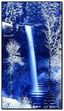 cachoeiras e neve fluindo animadas