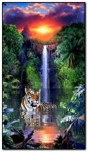 animated waterfall and Tiger