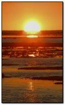 wonderful sunset at beach.