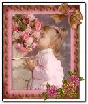 可爱的小女孩与鲜花