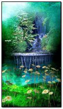 thác nước và hoa cúc