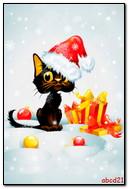 O gato sob neve caindo