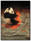Panda Riding A Toy Horse