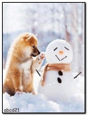 Dog And Snowman Winter