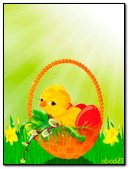 Chicken In The Basket Willow Twigs And Easter Eggs