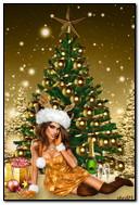 ख्रिसमस ट्री येथे मुलगी
