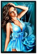 Fille avec des roses bleues