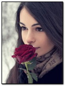 Girl With A Rose In The Winter