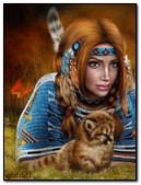 Indian Girl And Cub