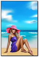 坐由海的帽子的女孩