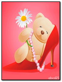 Teddy Bear With Chamomile In The Beauty Of The Shoe