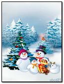 一个家庭的雪人