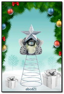 Teddybär auf Weihnachtsbaum mit dem Stern