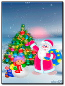 Santa Claus With Cristmas Tree And A Girl