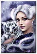 Девушка-фантазия с тигром