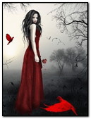 Gothic Girl In Red