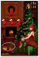 Girl Elf With A Gift Under The Holiday Tree