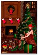 Tatil ağacının altında bir hediye ile kız elf