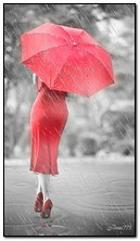 Girl In Red Under The Umbrella