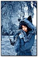 모자에서 소녀 쉰 겨울