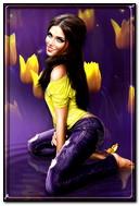 Sarı laleler ile kız2