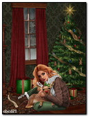 A Girl And A Fawn Under The Christmas Tree
