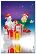 Le bonhomme de neige et le gars avec les cadeaux