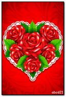 Trái tim của hoa hồng và lá màu xanh lá cây