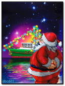 Santa Looks At The Floating Ship