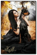 Girl With A Doberman