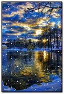 Zimowa noc nad jeziorem