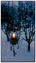 겨울철 촛불 빛