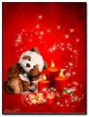 Valentine Teddy Bear Candles And Hearts