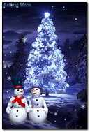 Snowmen Near The Tree In Winter Forest
