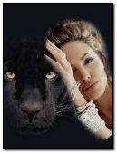 Girl with big cat