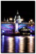 London Bridge in England by night