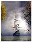 A Ship Sailing On