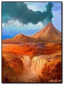 The volcano and waterfall