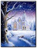 Paisaje invernal y bella casa