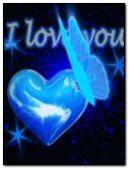 blue neon heart