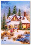 크리스마스가 집에서 기다리고 있습니다.