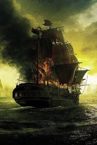 Burning Sailing Ship